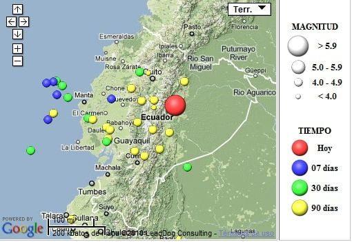 Mapa ubicación del Temblor: Instituto Geofísico EPN