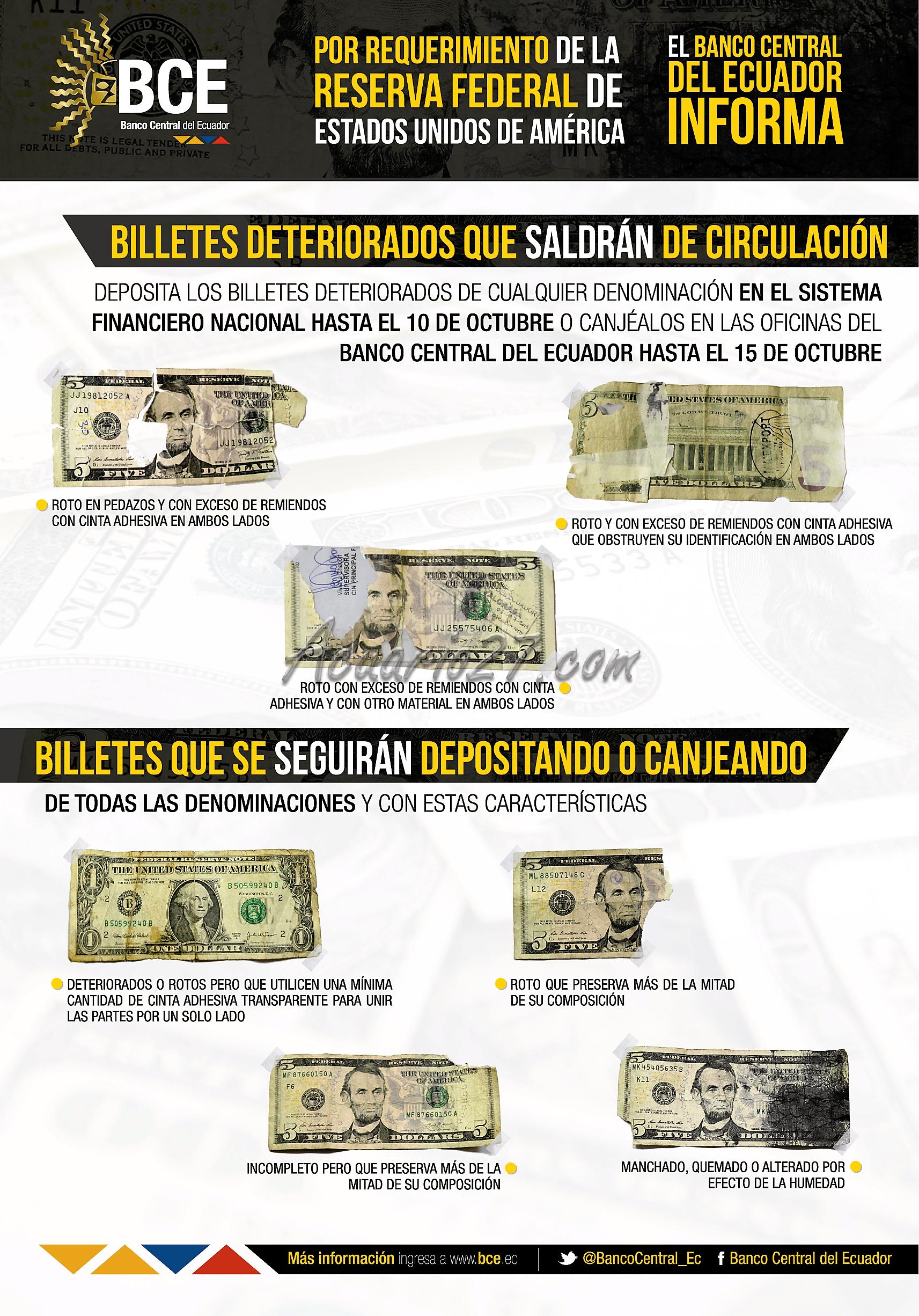 Billetes deteriorados saldrán de circulación