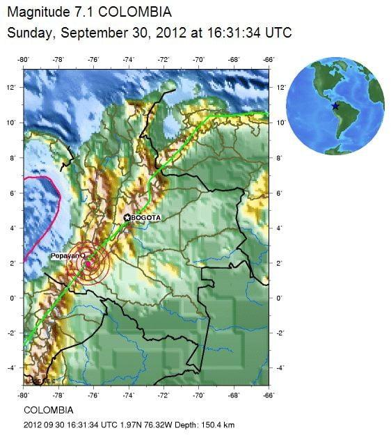 Sismo Colombia. Fuente Instituto Geofísico. Agencias Internacionales