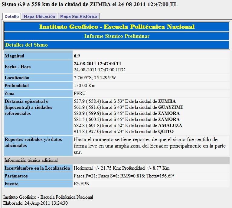 Reporte del Sismo del 24-08-2011 IGEPN