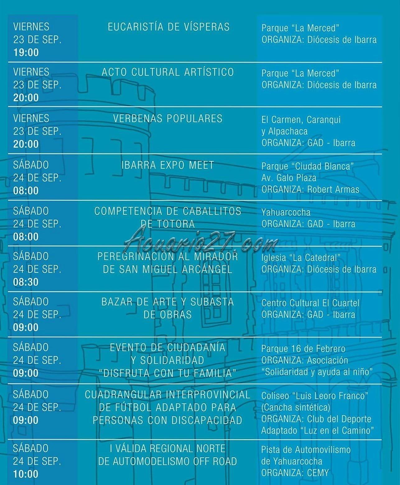 Programa Fiestas Ibarra 2016