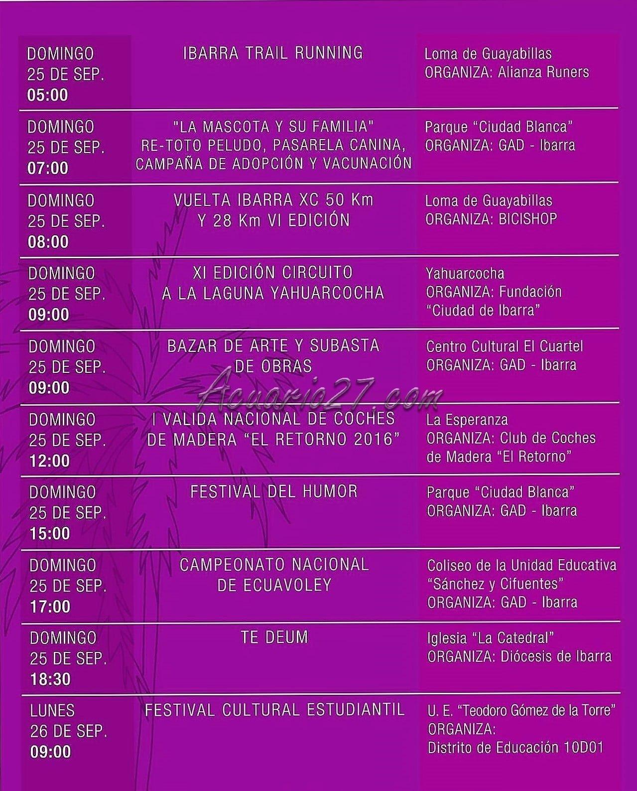 Programa Fiestas de Ibarra